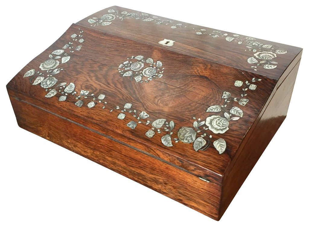 19th C English Writing Lap Desk, Rosewood With