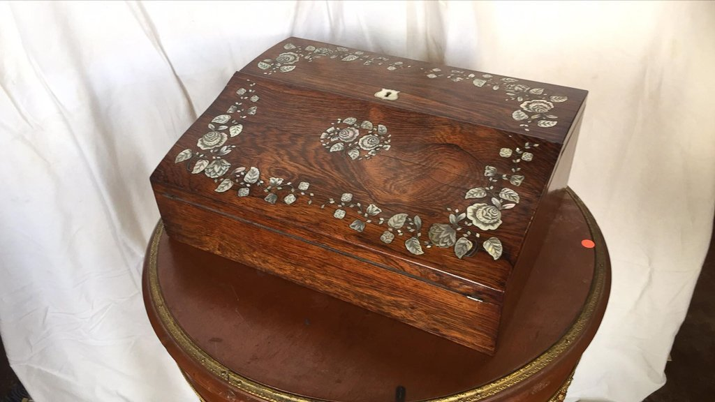 19th C English Writing Lap Desk, Rosewood With - 2