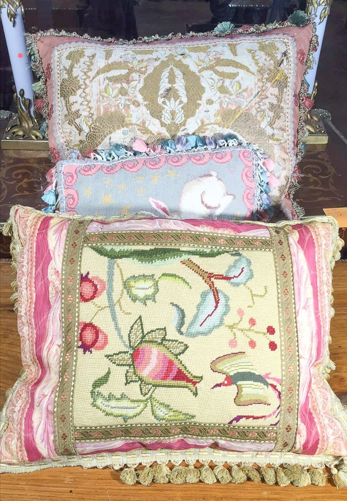 Group Of Three Needlepoint And Silk Pillows