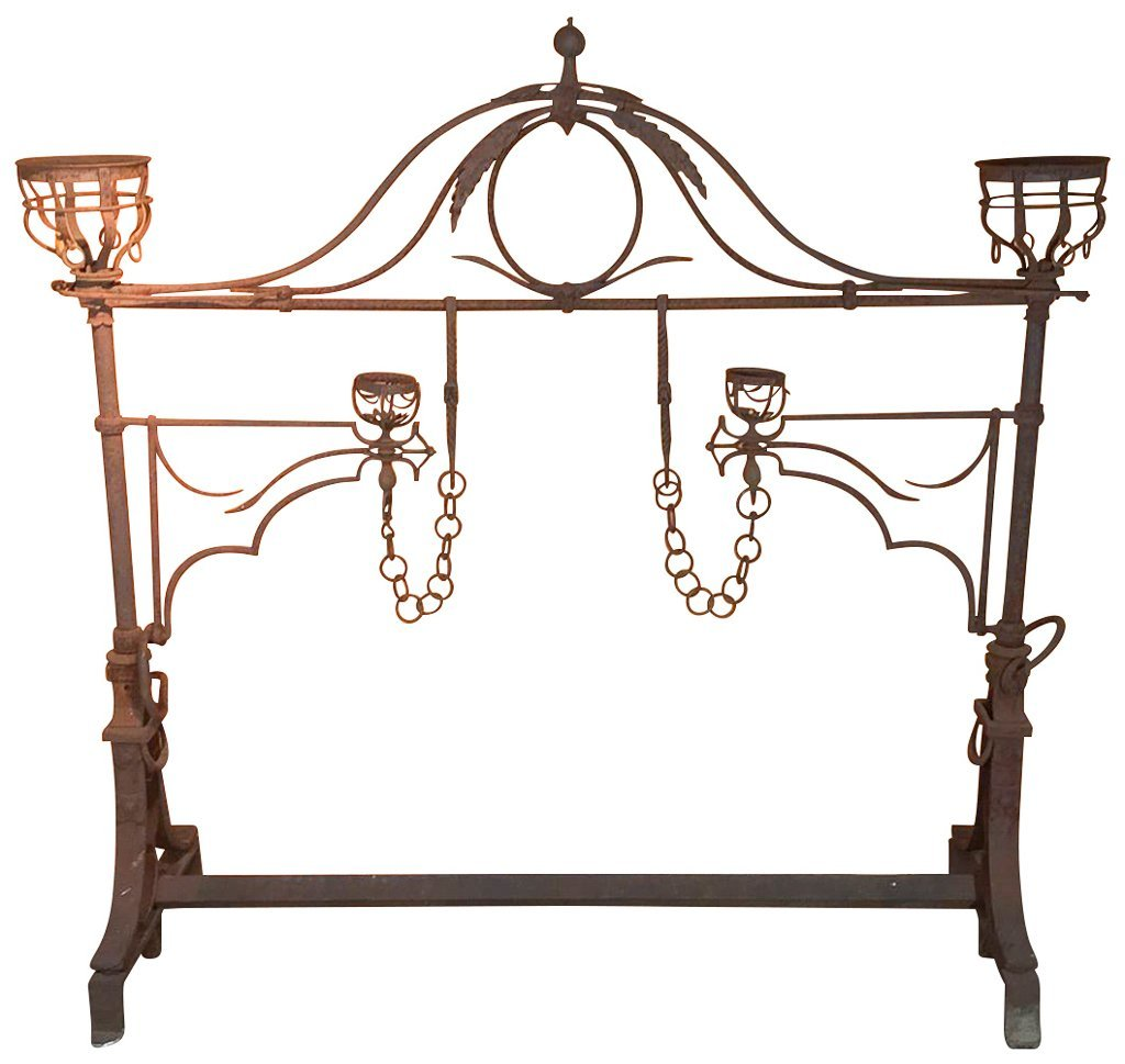 Large Antique Iron Cooking Frame, With Swing