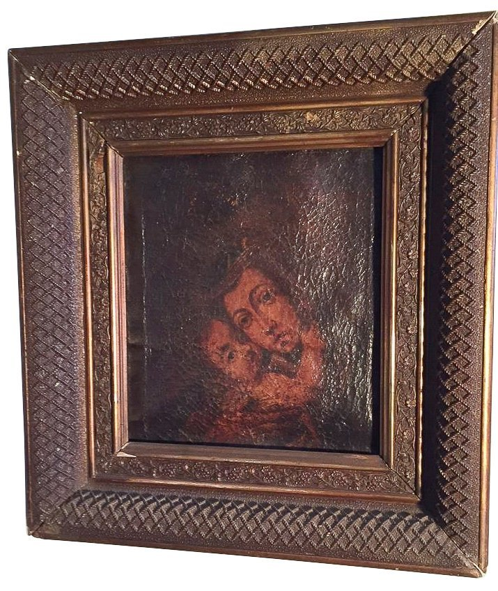 18th C. French Oil, Madonna And Child, In Gilt