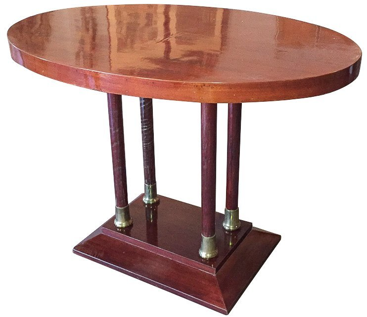 Antique Mahogany & Brass Oval Side Table