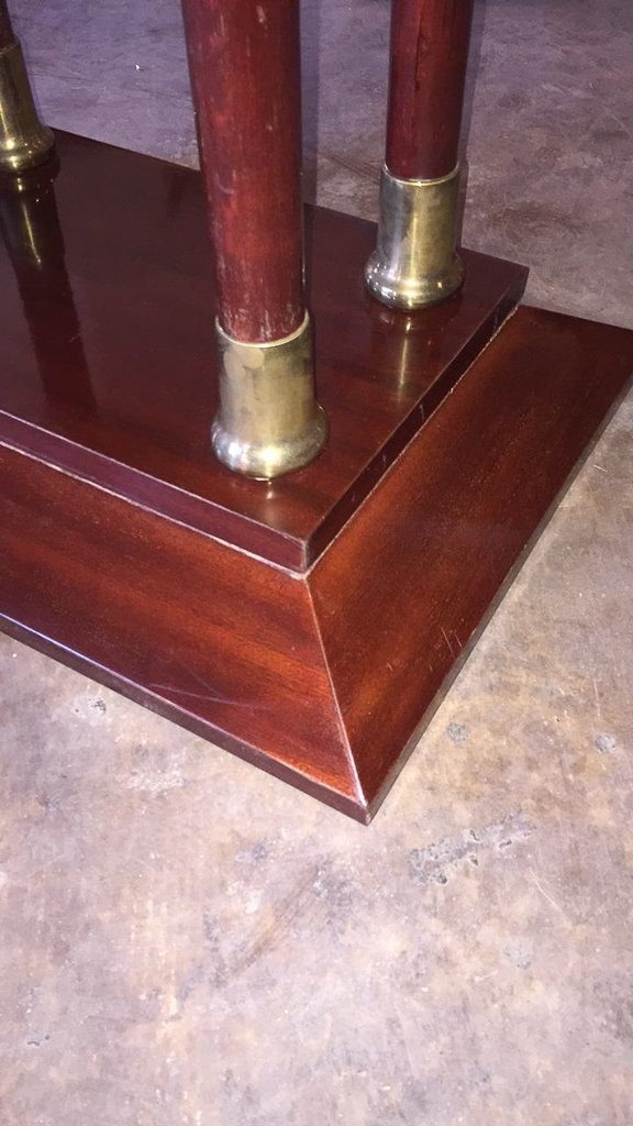 Antique Mahogany & Brass Oval Side Table - 2