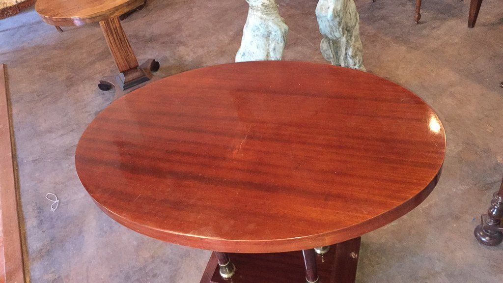 Antique Mahogany & Brass Oval Side Table - 3
