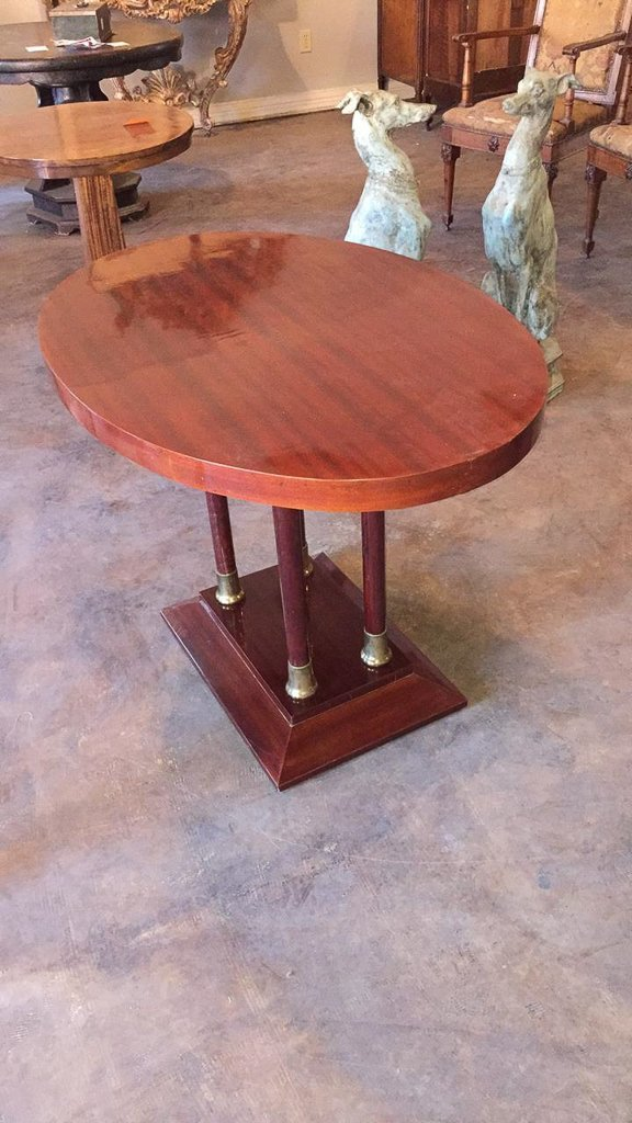Antique Mahogany & Brass Oval Side Table - 4