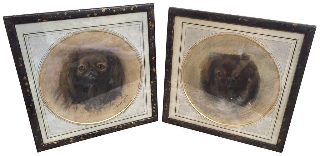 Pr Parisian Framed Charcoal Spaniel Portraits,