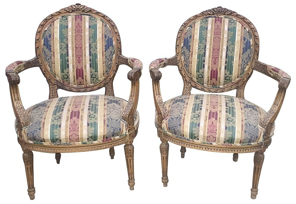 Pair Of French Louis Xvi Beechwood Armchairs