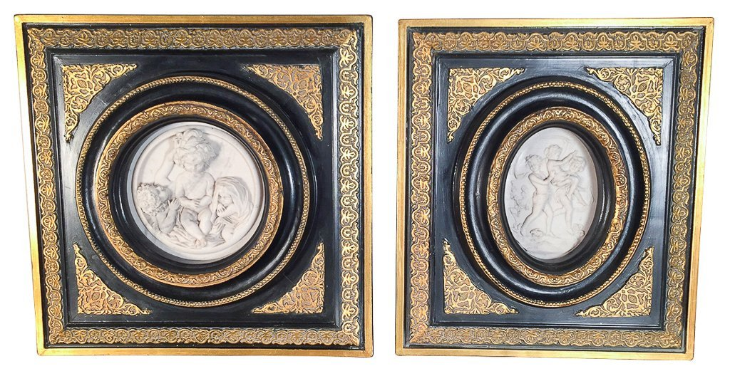 Pair Of Continental Framed Alabaster Plaques