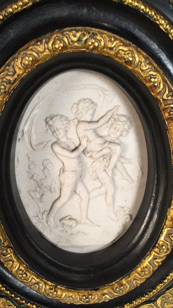 Pair Of Continental Framed Alabaster Plaques - 2