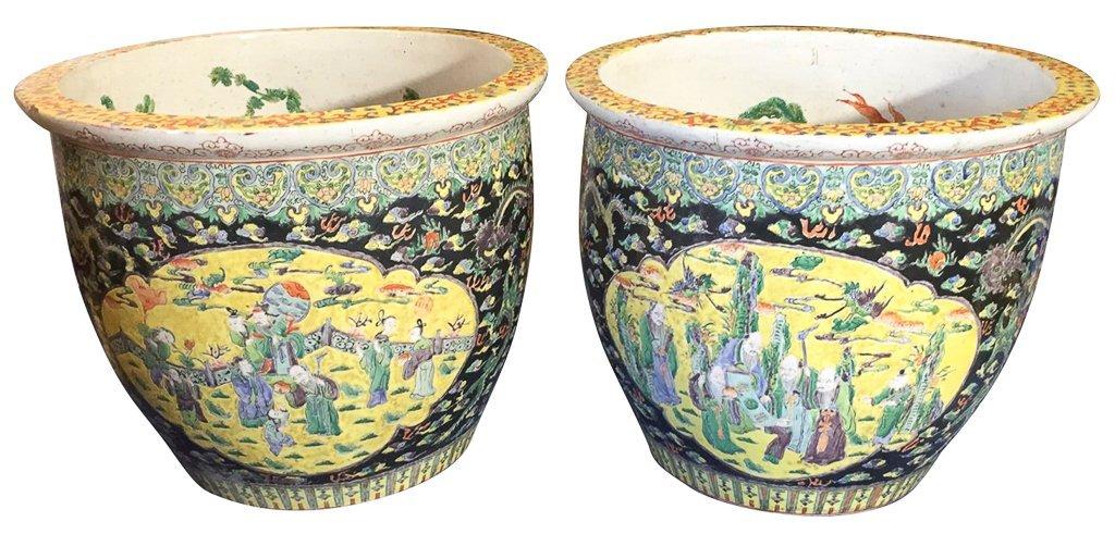 Great Pair Of Oriental Porcelain Jardineres