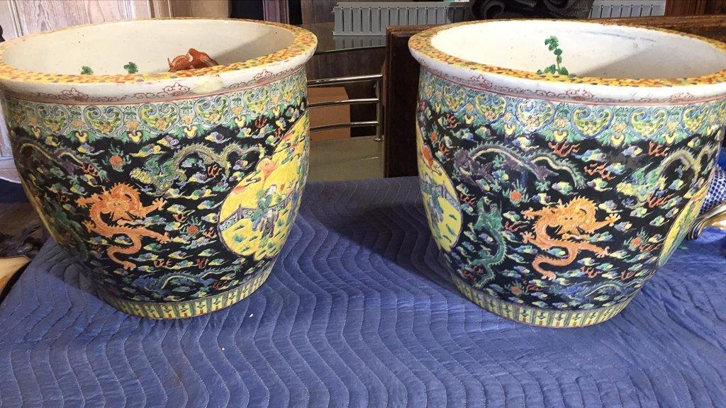 Great Pair Of Oriental Porcelain Jardineres - 4
