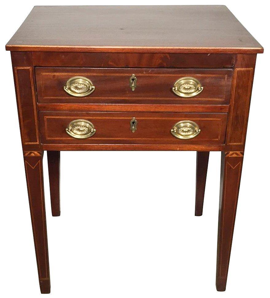 English Sheraton Mahogany Two Drawer Stand