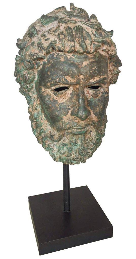 Cast Bronze Grecian Bust, Classical Figure