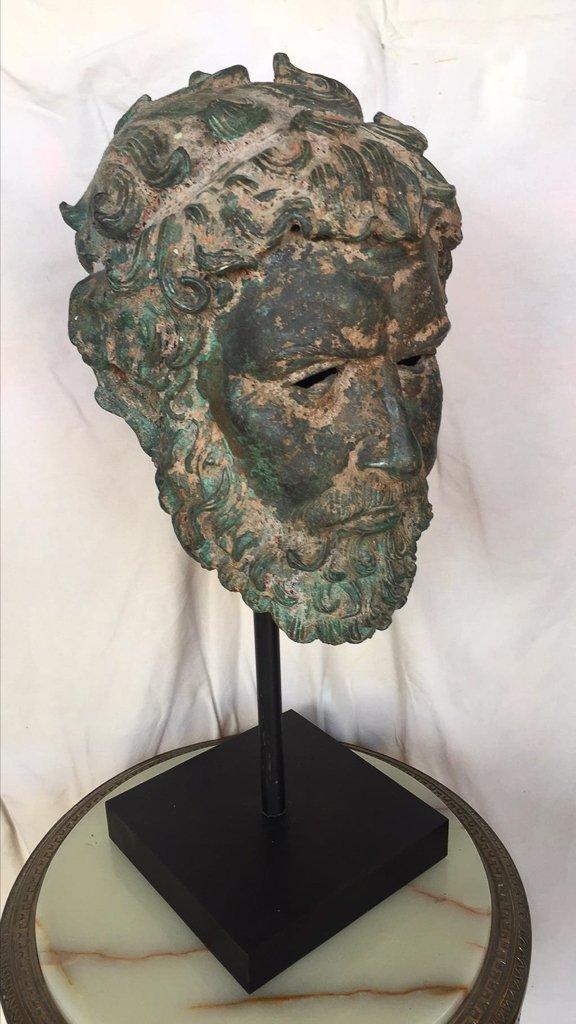Cast Bronze Grecian Bust, Classical Figure - 2