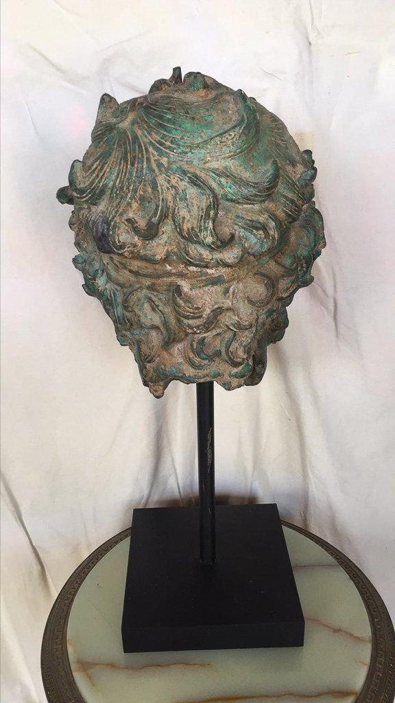 Cast Bronze Grecian Bust, Classical Figure - 3