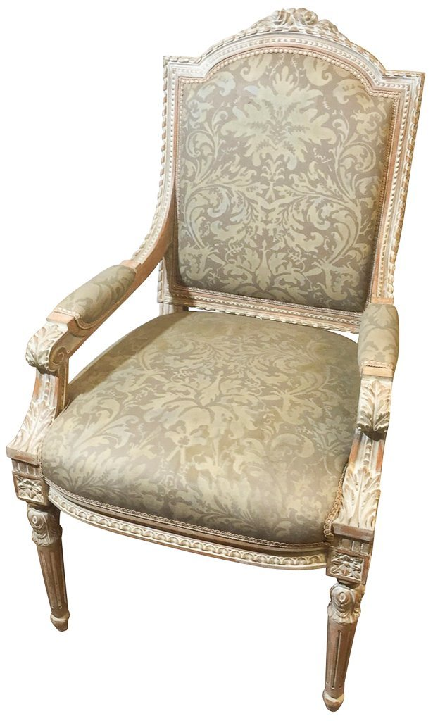 French Armchair, Fortuny Fabric Upholstery
