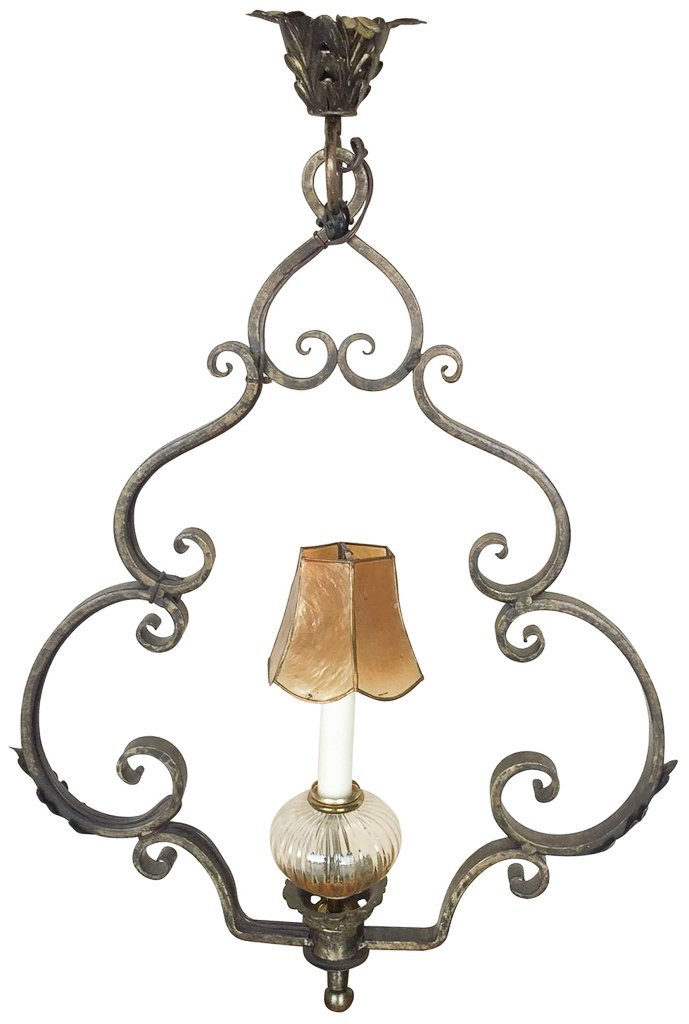 Unusual French Wrought Iron Single Light