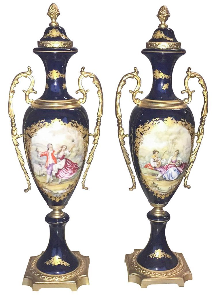 Pair Of Cobalt Blue Porcelain And Bronze Vases