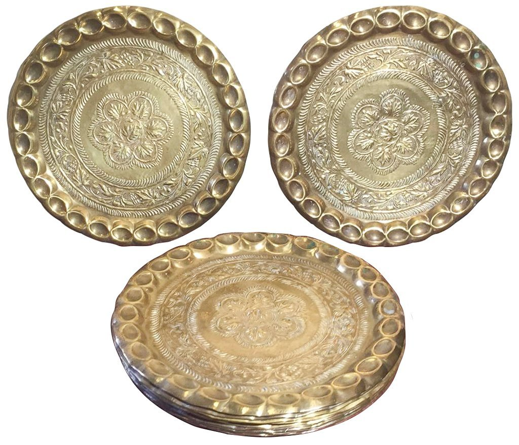 Great Set Of 10 Heavy Brass Embossed Chargers