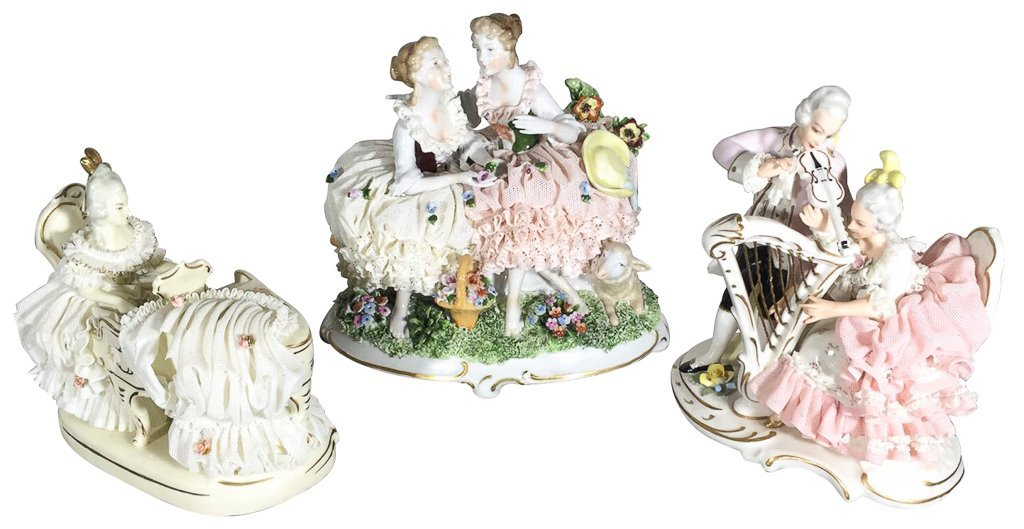 Group Of Three German Porcelain Figurines