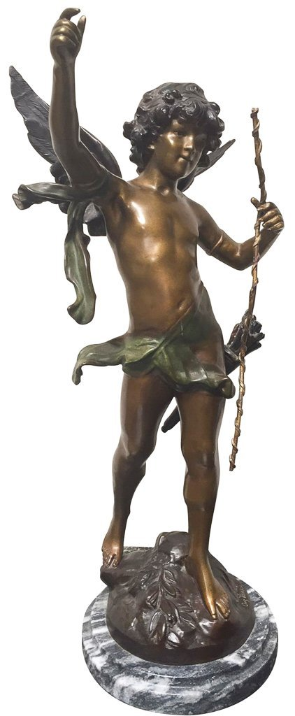 Patinated Bronze Statue, Winged Boy