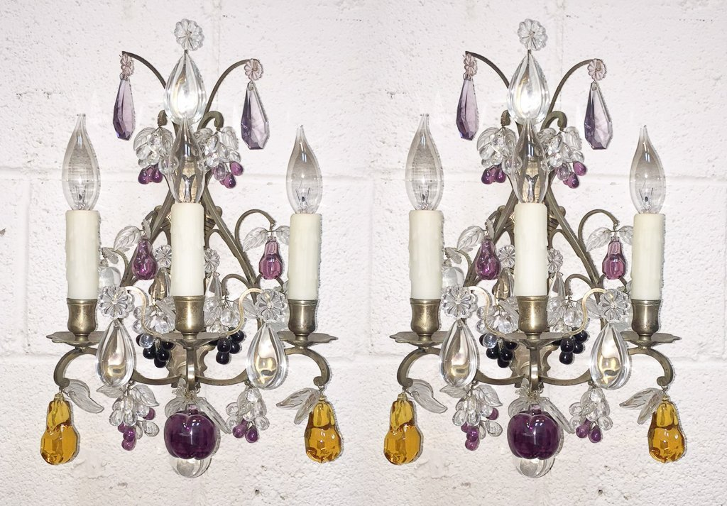 Pair Of French Silvered Sconce With Fruit