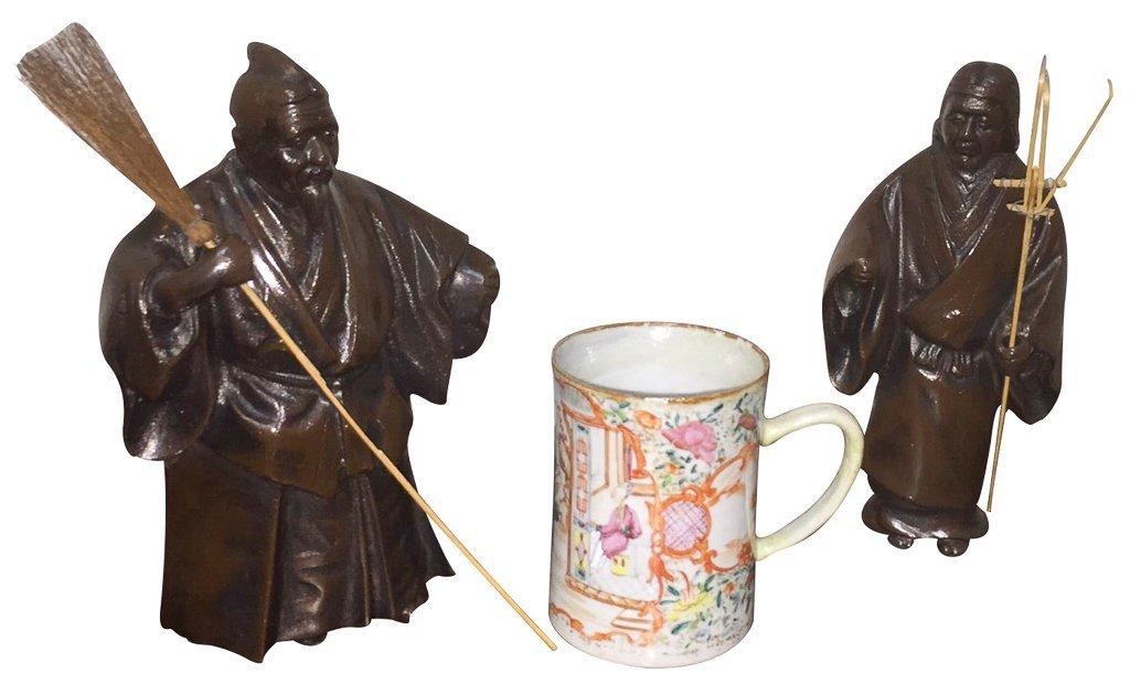 Pair Of Oriental Bronzes & Early Chinese Mug