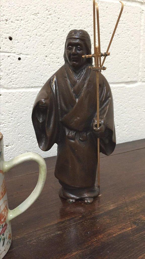 Pair Of Oriental Bronzes & Early Chinese Mug - 3