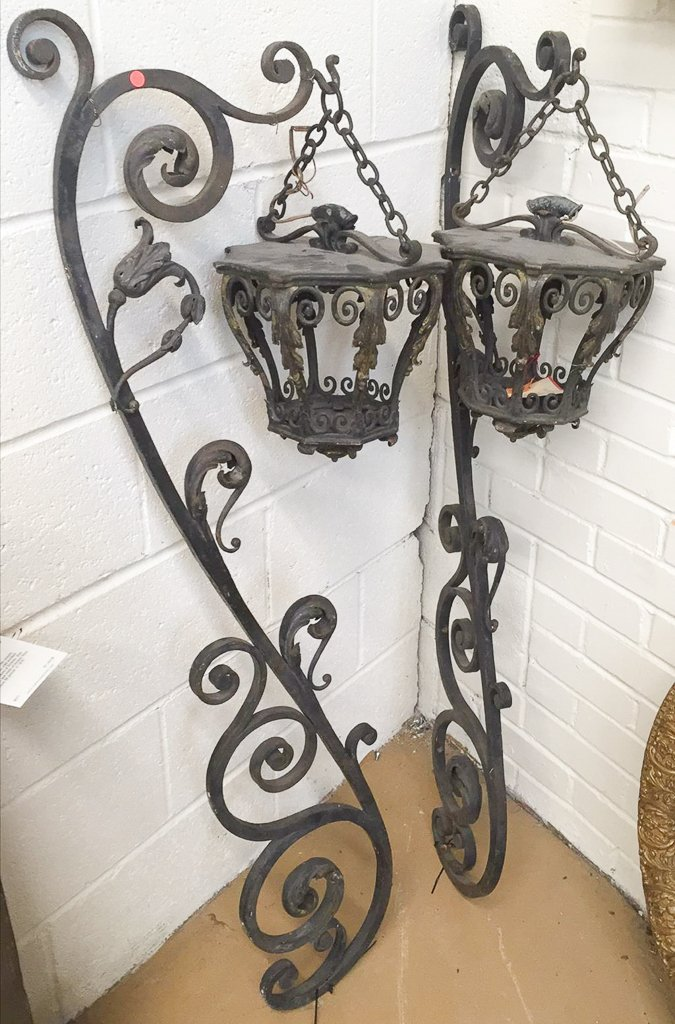 Pair Of French Wrought Iron Lanterns, With