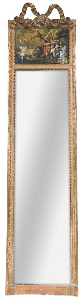 Early French Antique Trumeau Mirror, Unusual