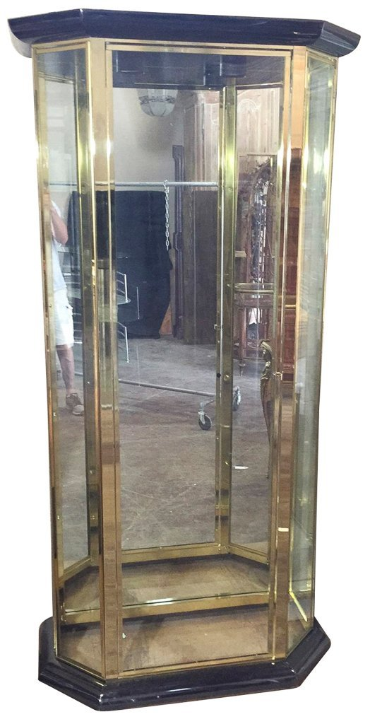 Modern Brass Finished Display Cabinet,