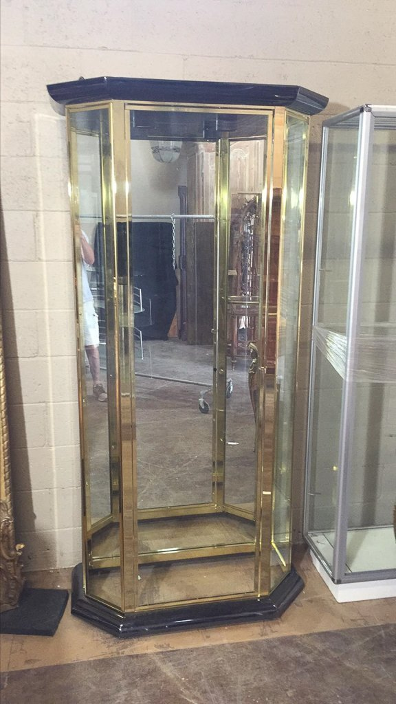 Modern Brass Finished Display Cabinet, - 2