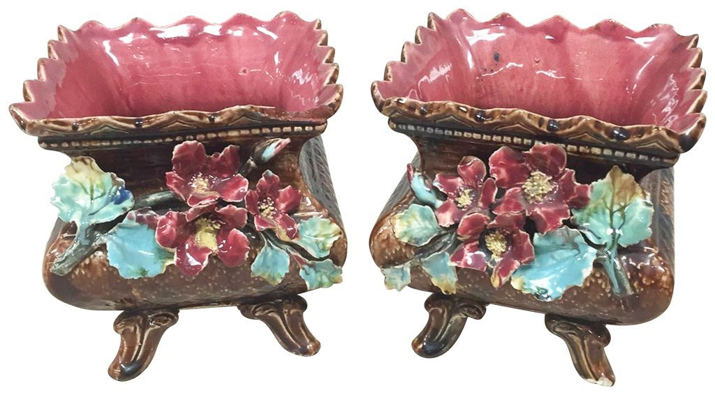 Pair Of Antique French Barbotine Planters
