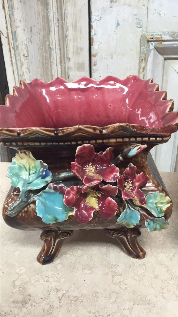 Pair Of Antique French Barbotine Planters - 2