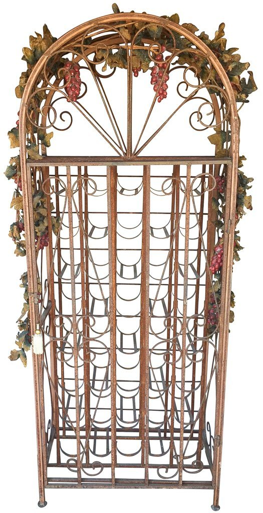 Iron Wine Rack With Swing Out Door