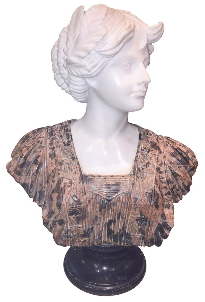 Italian Carved Bust Of Young Beauty, By Goose