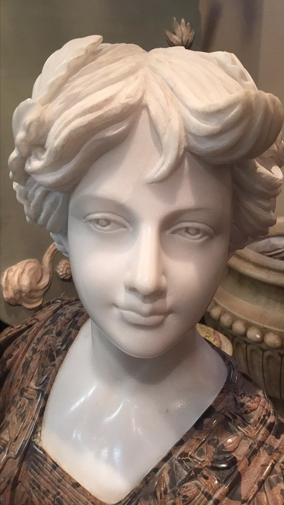 Italian Carved Bust Of Young Beauty, By Goose - 2