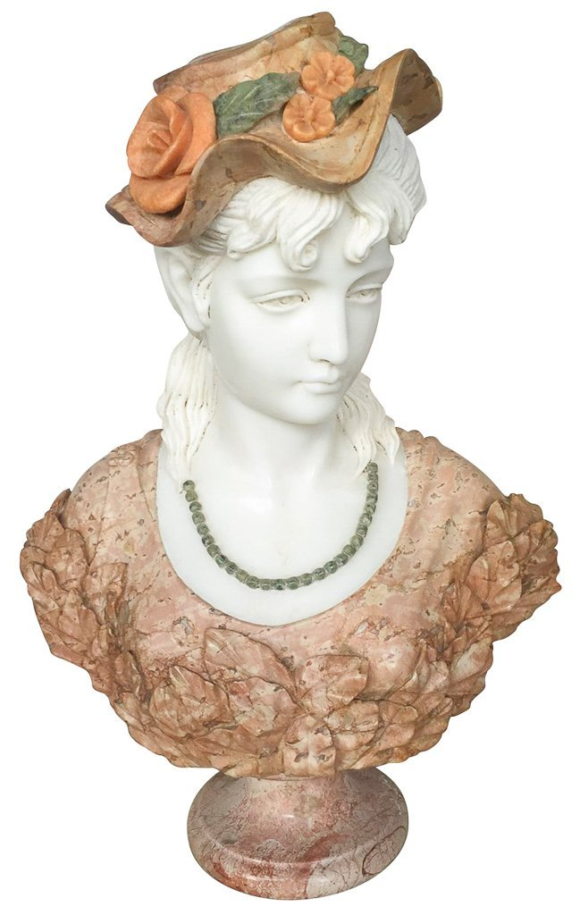 Italian Multi Colored Marble Bust, Lady With