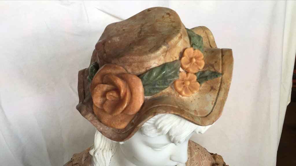 Italian Multi Colored Marble Bust, Lady With - 2