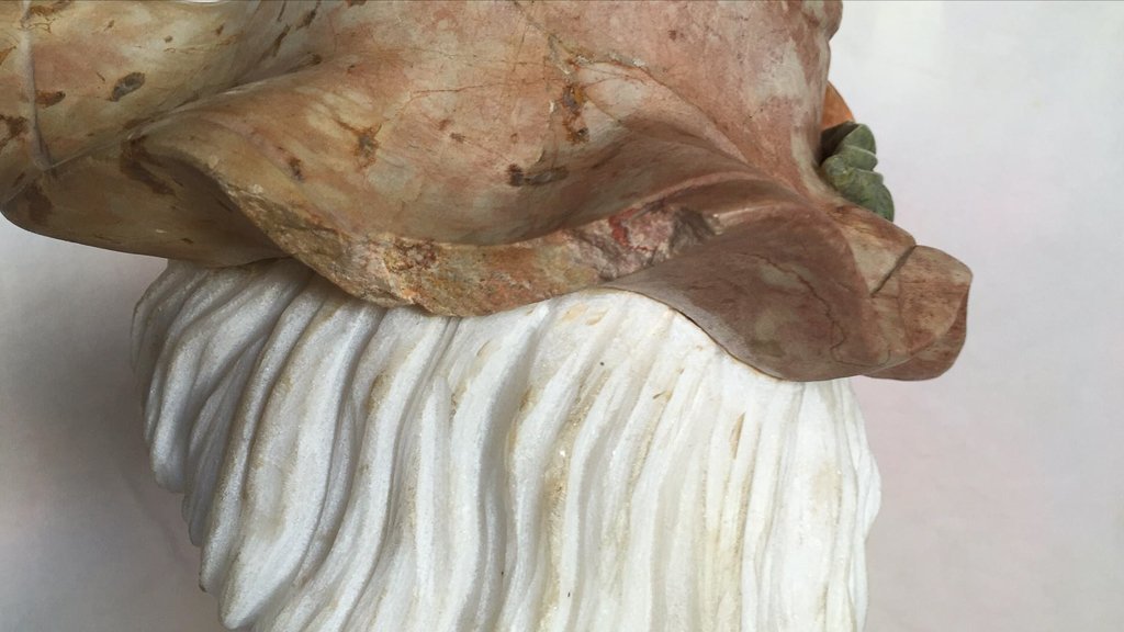 Italian Multi Colored Marble Bust, Lady With - 4