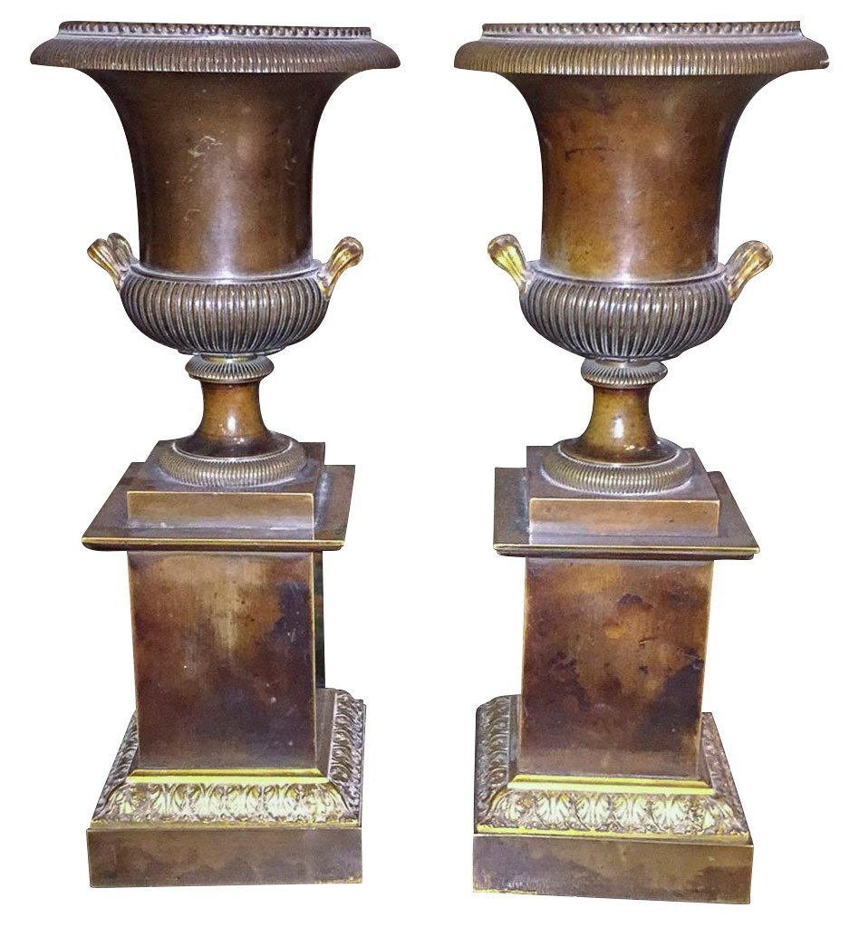 Pair Of 19th C. French Bronze Urns