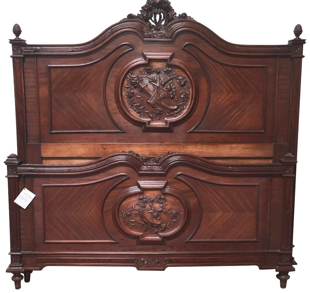Quality 19th Century French Carved Walnut Bed