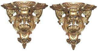 Nice Pair Of French Gilt Wood Wall Brackets