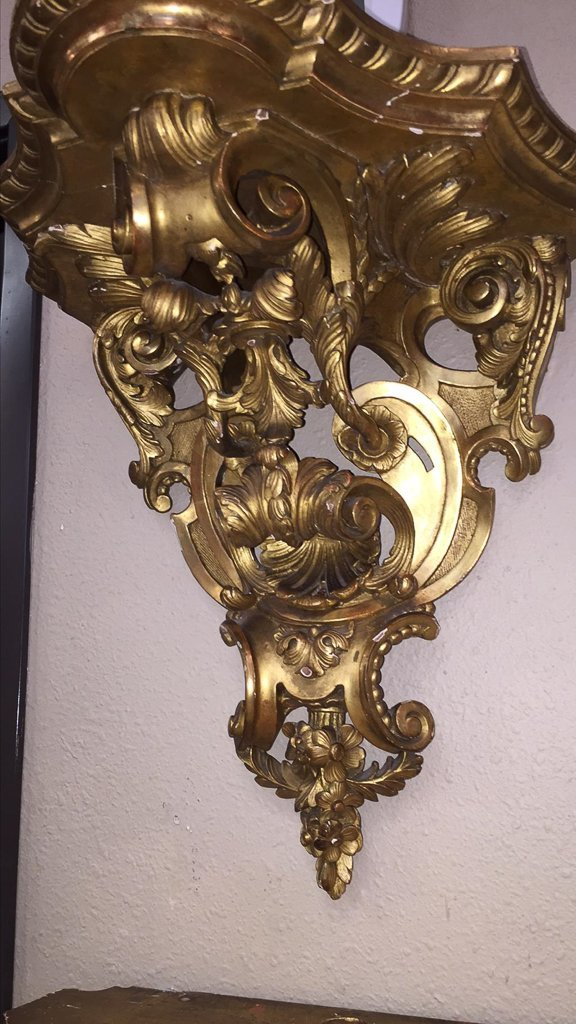 Nice Pair Of French Gilt Wood Wall Brackets - 3