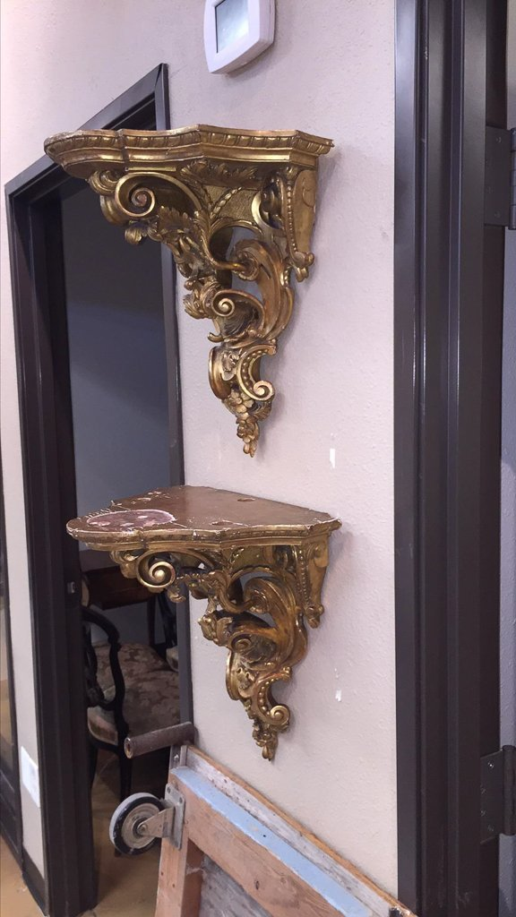 Nice Pair Of French Gilt Wood Wall Brackets - 4