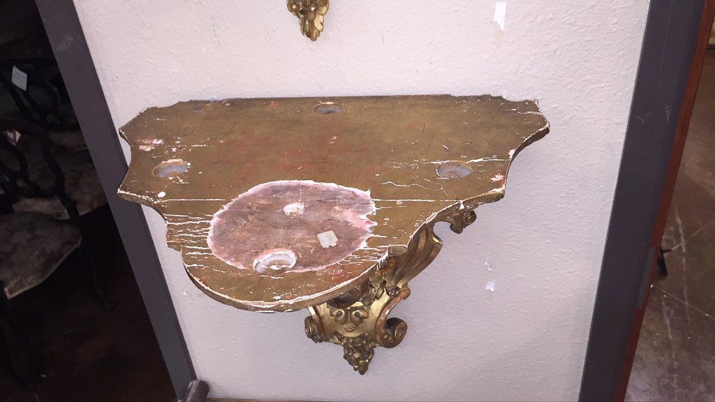 Nice Pair Of French Gilt Wood Wall Brackets - 5