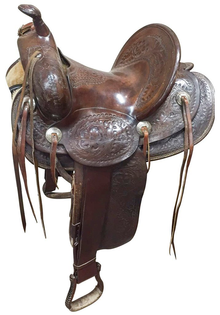 Custom Tooled Leather Saddle, Marked R L Davis