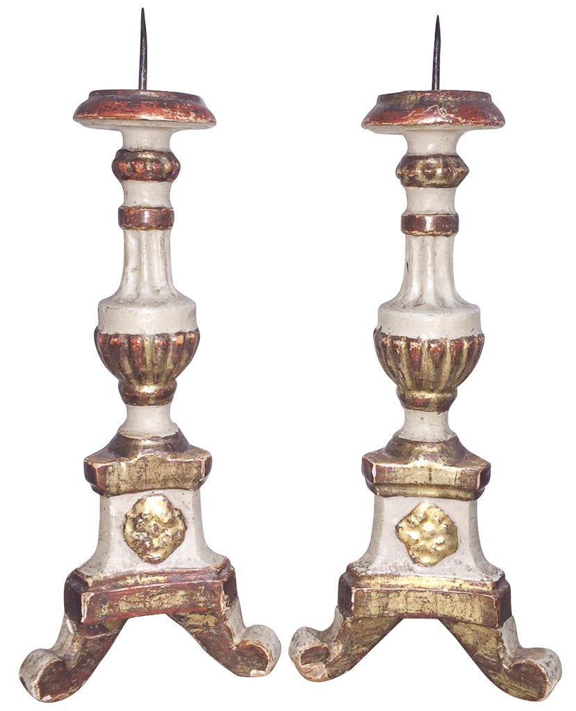 Pair Of 18th C. Italian Wood Candlesticks