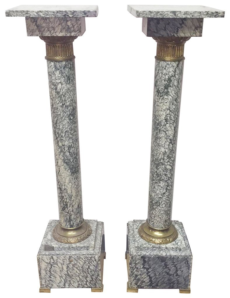 Find A Pair Of Exotic French Marble Pedestals