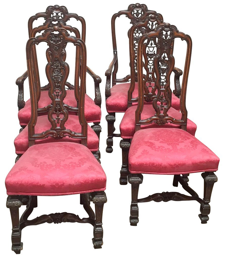 Fine Set Of Six Continental Style Dining Chairs